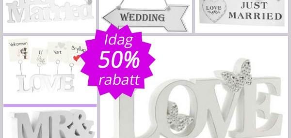 Supertilbud på unike skilt til Bryllup!